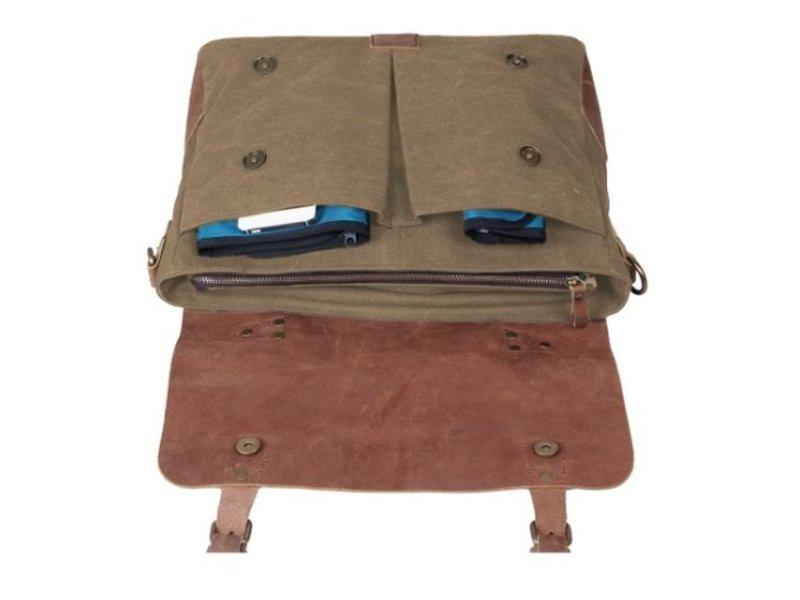 JOOF Canvas laptoptas / werktas / schooltas khaki groen