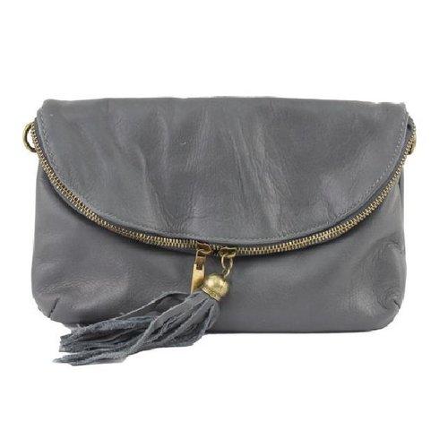 Leren Citybag / Avondtasje grijs