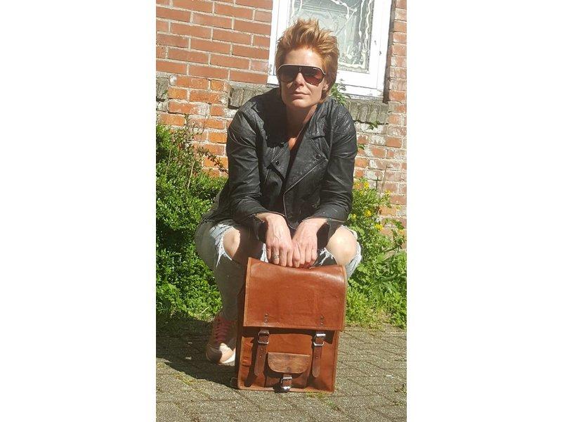 JOOF Leren (geitenleren) rugzak vintage look bruin