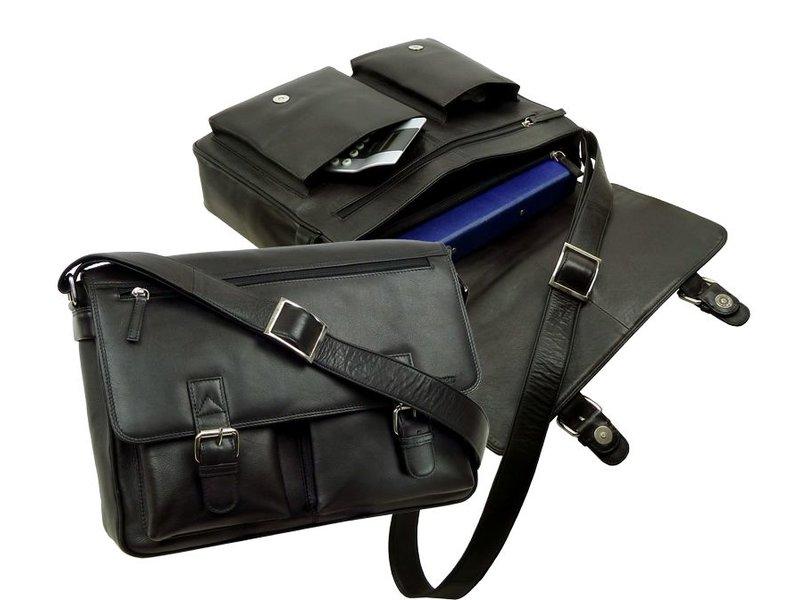 JOOF Leren laptoptas / schooltas / werktas zwart