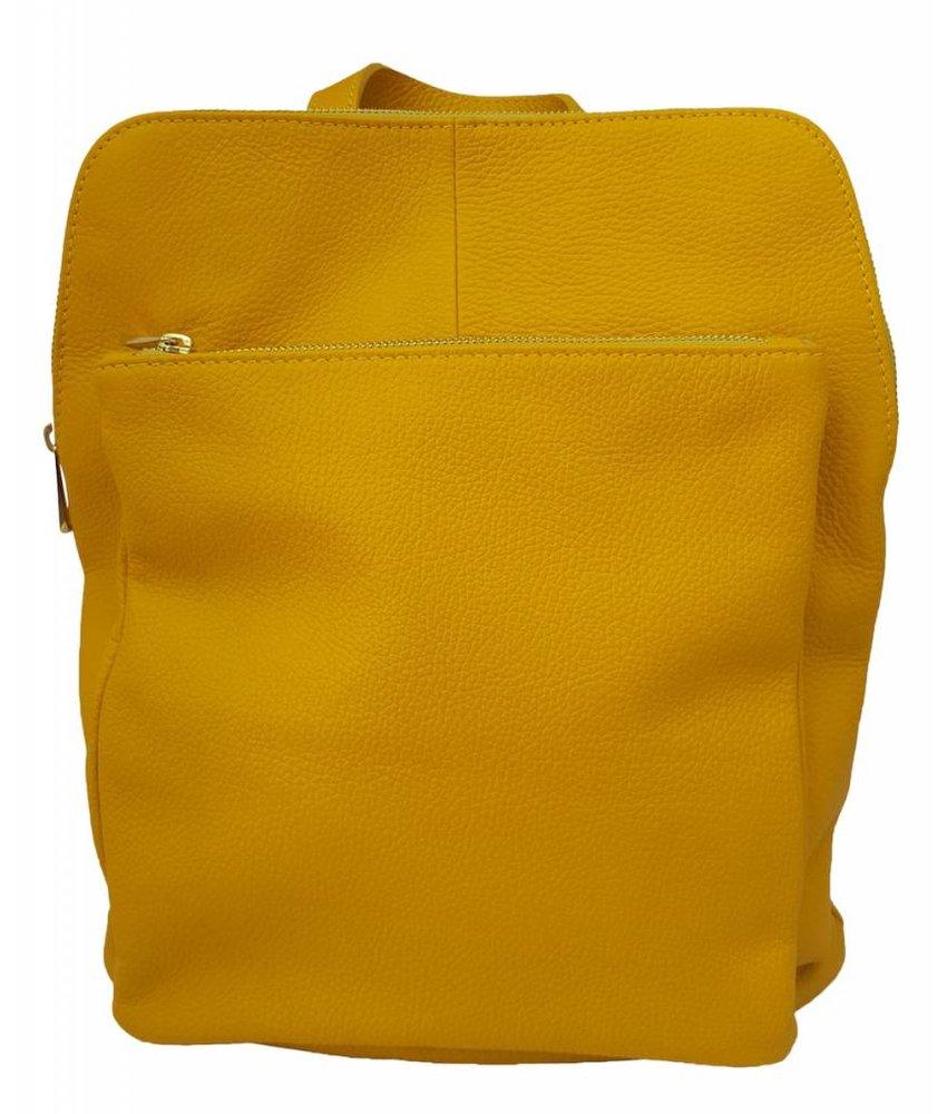 Leren rugzak uit Italie knal geel
