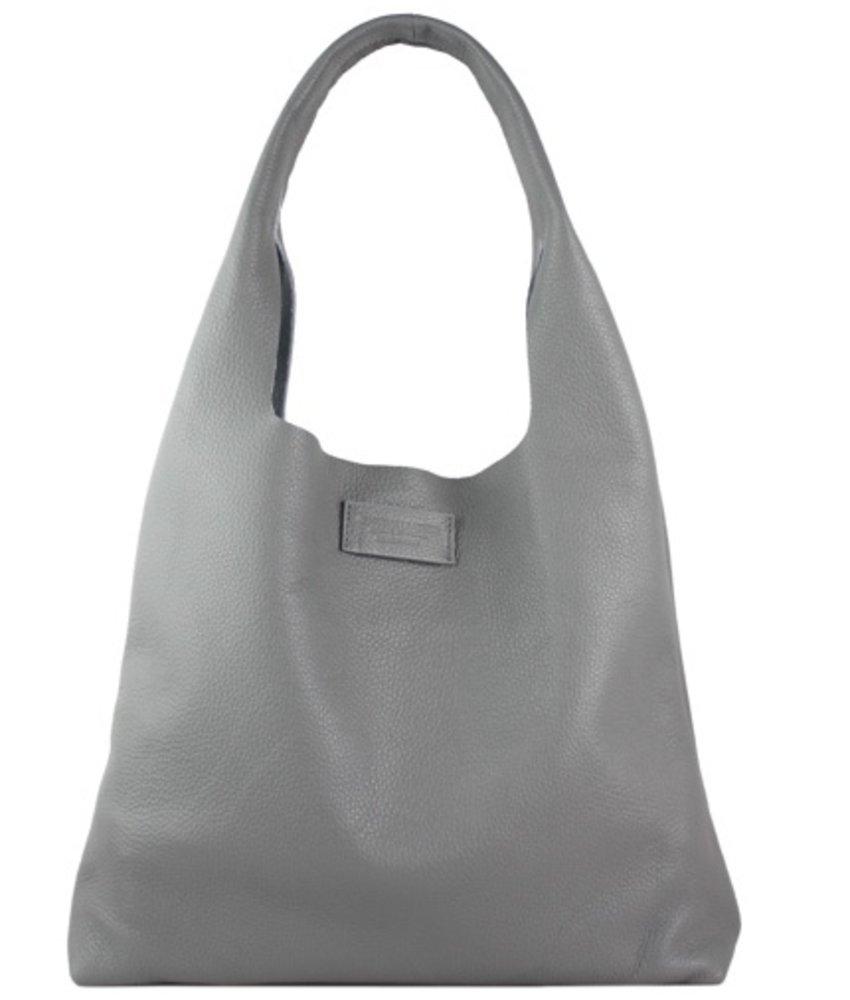 Leren shopper met binnentas grijs