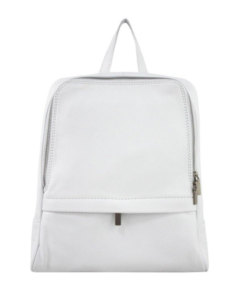 Leren rugzak, ook voor een kleine laptop, wit