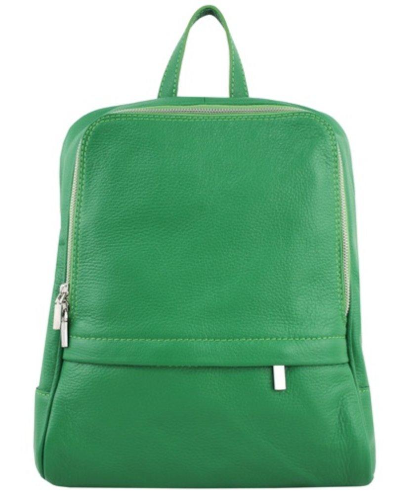 Leren rugzak, ook voor een kleine laptop, groen