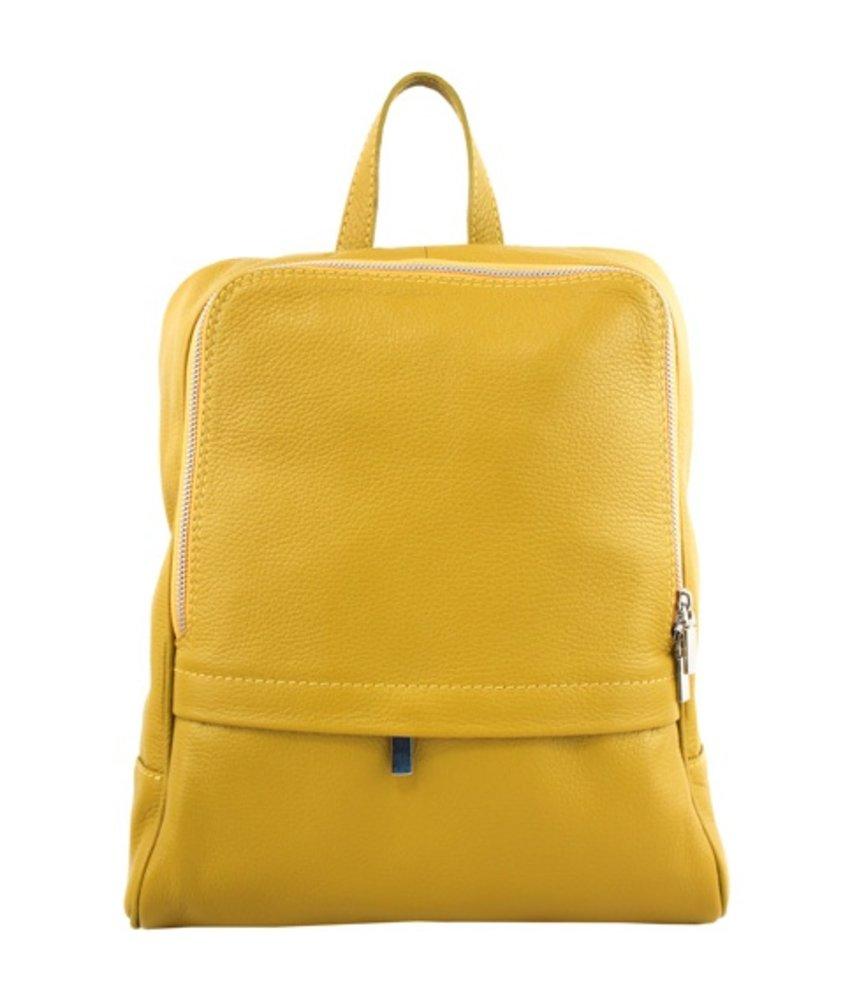 Leren rugzak, ook voor een kleine laptop, geel