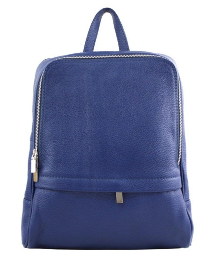 Leren rugzak, ook voor een kleine laptop, blauw