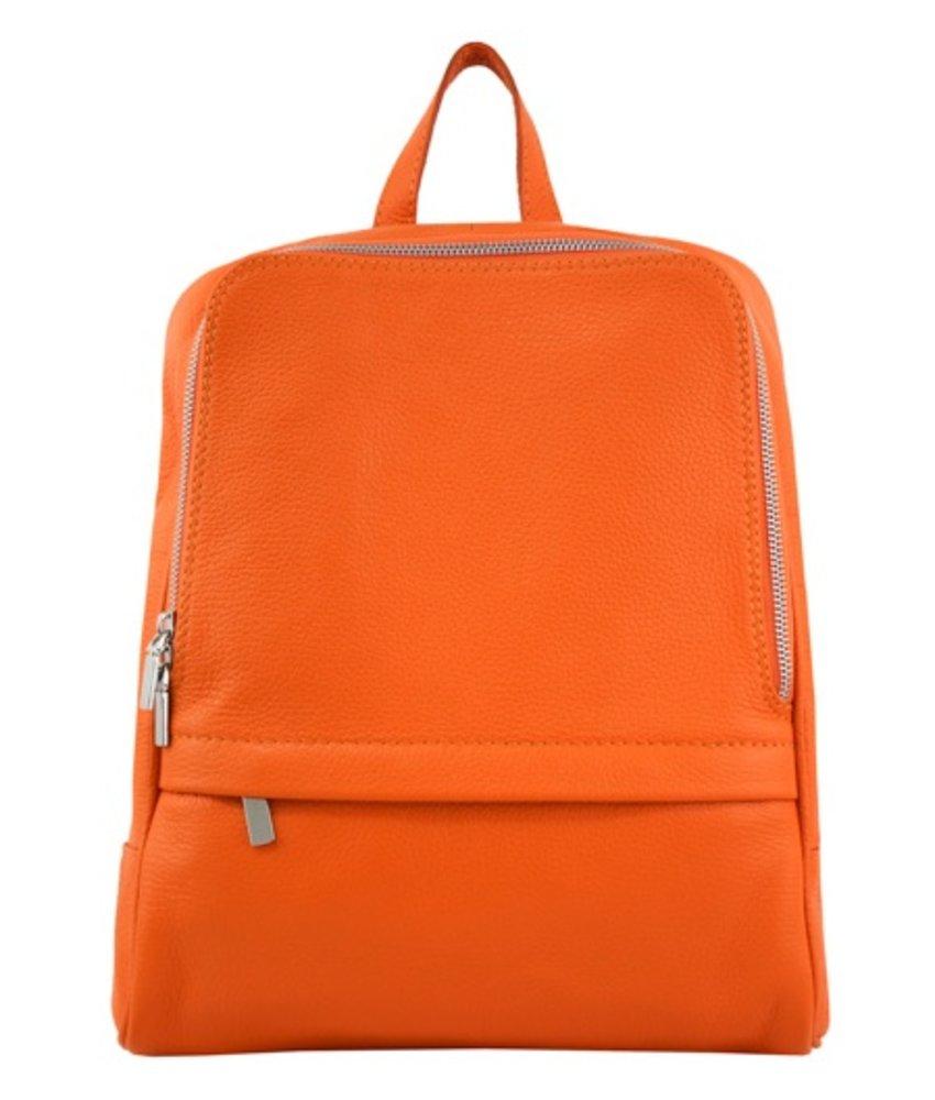 Leren rugzak, ook voor een kleine laptop, oranje