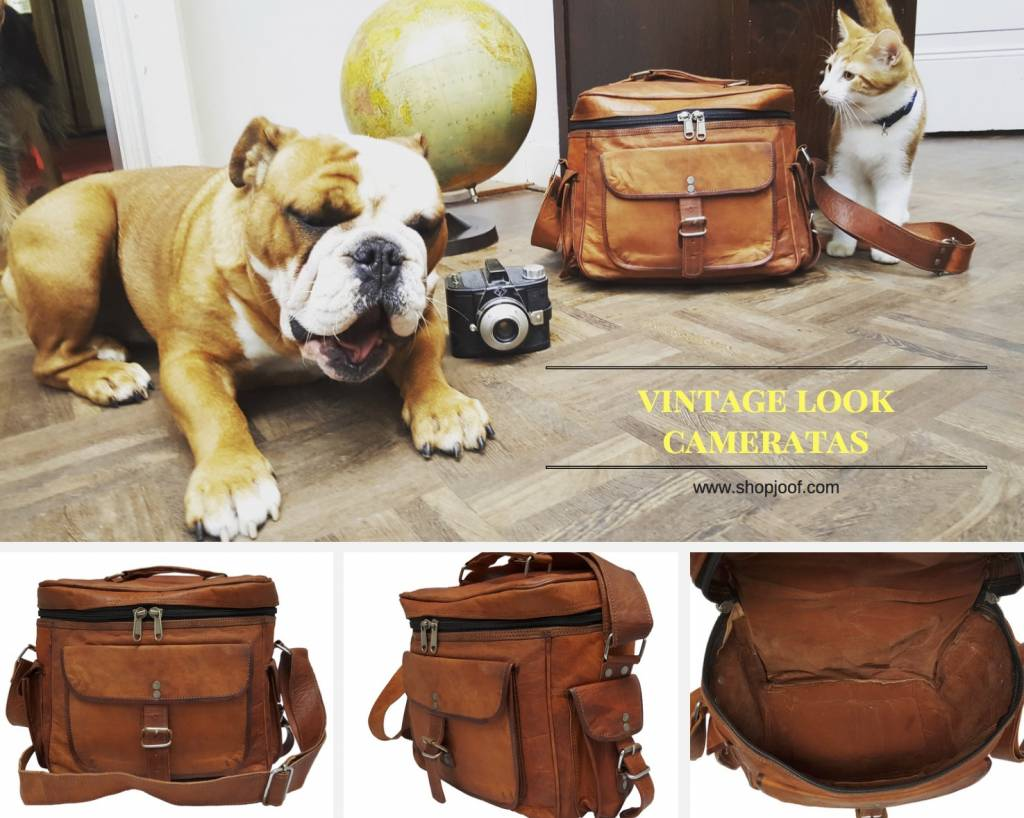 Leren cameratas met vintage look, nieuw in de webshop.