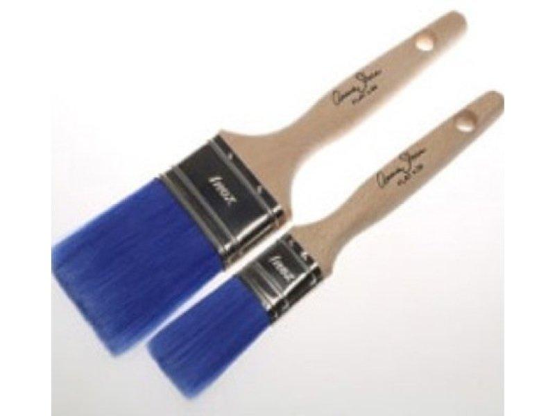 Annie Sloan platte kwast blauw (smal)