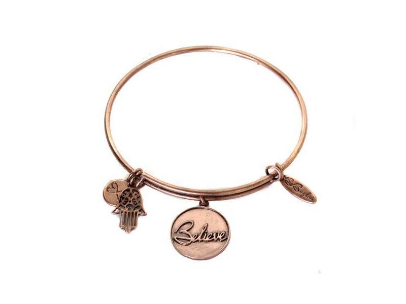 Be Bangled armband met gelukshanger BELIEVE