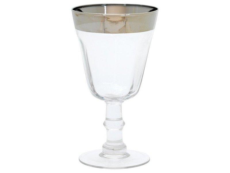 Wijnglas zilveren rand