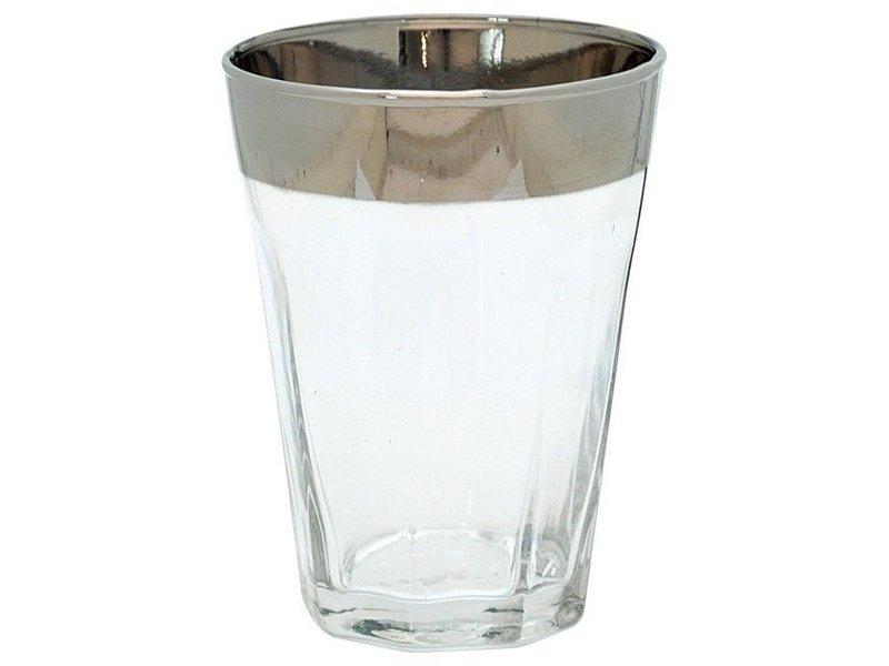 Waterglas met zilveren rand