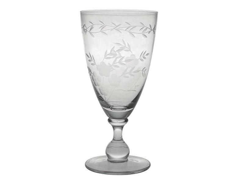 Klassiek wijnglas, gebloemd