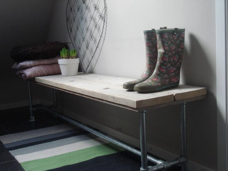 PURE wood design 'Porsgrunn' bank van steigerhout en steigerbuizen