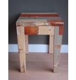 'Hovden' kruk/bijzettafel van sloophout
