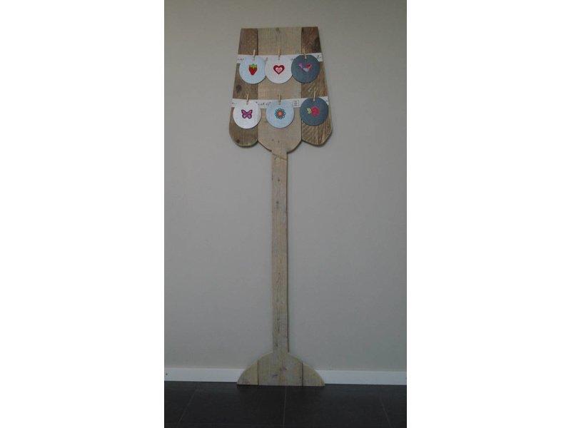 PURE wood design 'Vega' lamp steigerhout voor kaarten en foto's