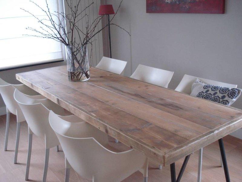 Table industriel bois d'échafaudage avec tréteaux