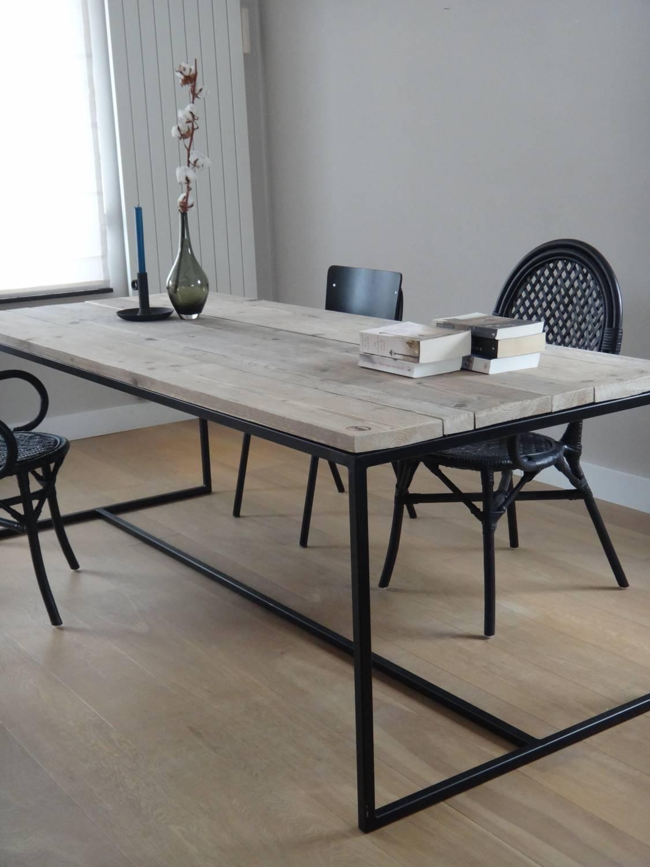 blog de perfecte combinatie steigerhouten tafel met staal pure wood design. Black Bedroom Furniture Sets. Home Design Ideas