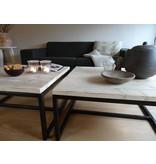 'Varberg' industriele salontafel steigerhout/staal open