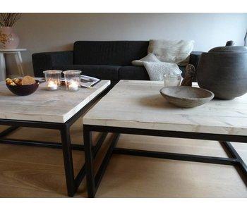 Industrielle table basse bois (acier ouvert)