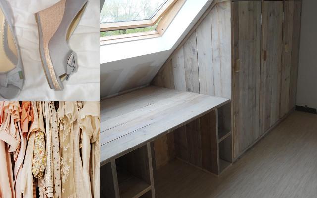 ... Van Steigerhout Onder Een Schuine Wand Afgewerkt Met Hoge Pictures