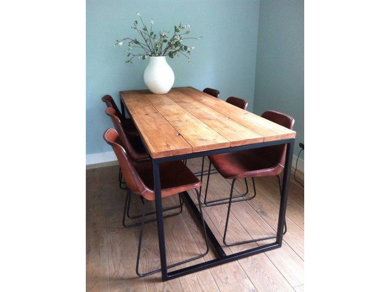 Table industrielle en bois d'échafaudage avec armature en acier
