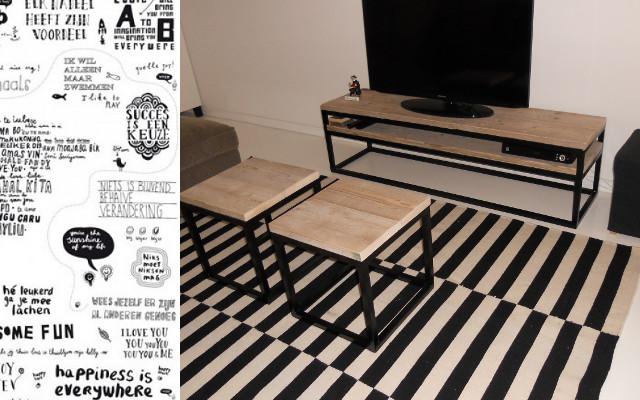 Meubels Landelijk Maken : Landelijk tv meubel bo deuren open vak zwart