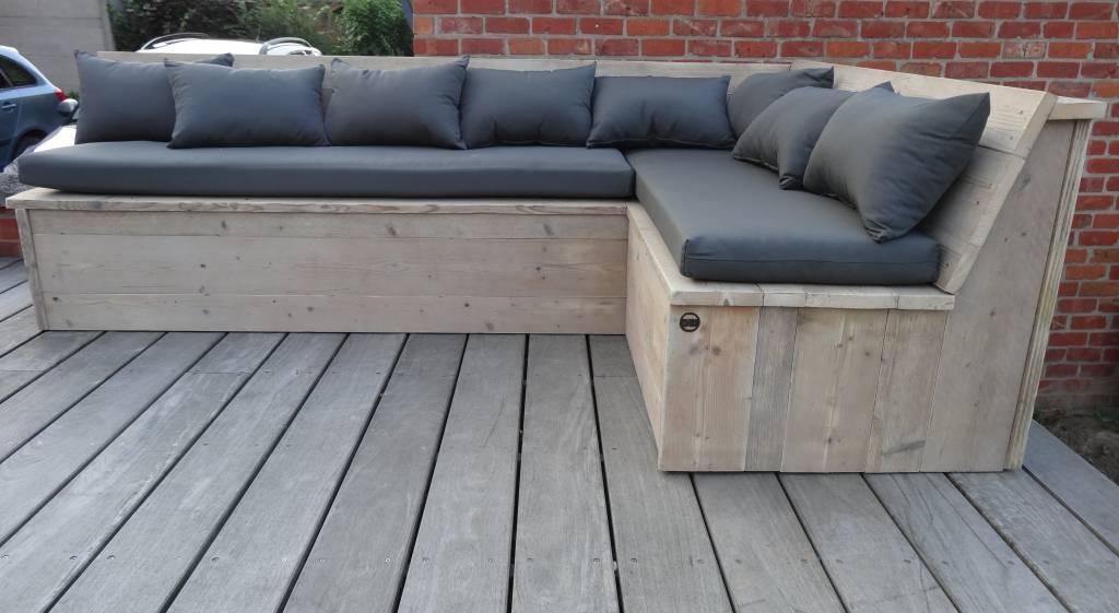 u0026#39;Harstad Garden u0026#39; hoekbank steigerhout (met kussens)   PURE Wood Design