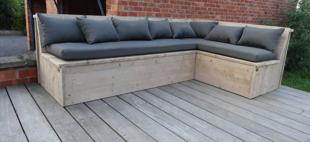 PURE wood design PURE hoekbank steigerhout (met kussens)   PURE Wood De