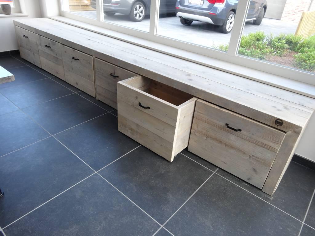 39 bjordal 39 opbergbank steigerhout pure wood design. Black Bedroom Furniture Sets. Home Design Ideas