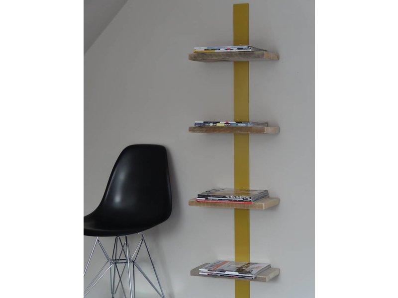 PURE wood design 'Nesheim' Boekenrek gekleurd staal en steigerhout