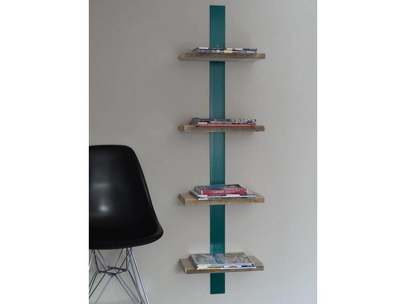 'Nesheim' Boekenrek gekleurd staal en steigerhout