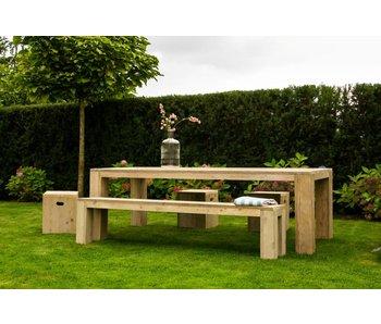 'Hamar outdoor' tuintafel steigerhout blokpoten