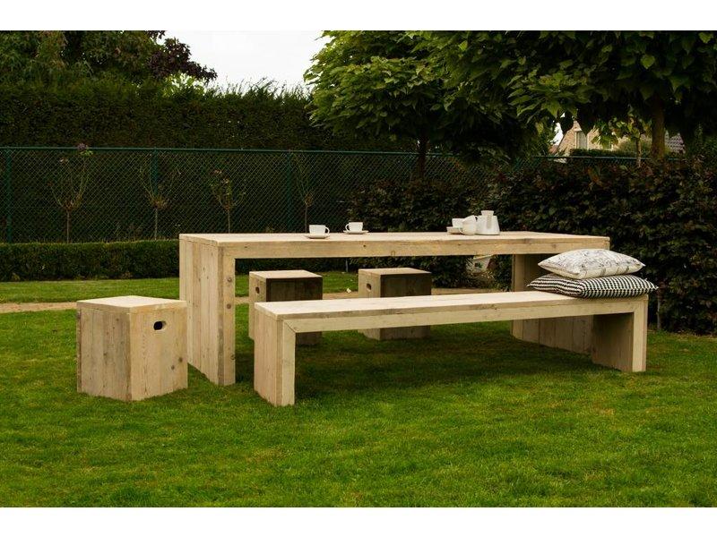 'Hofland Garden' bank steigerhout met dichte zijkanten