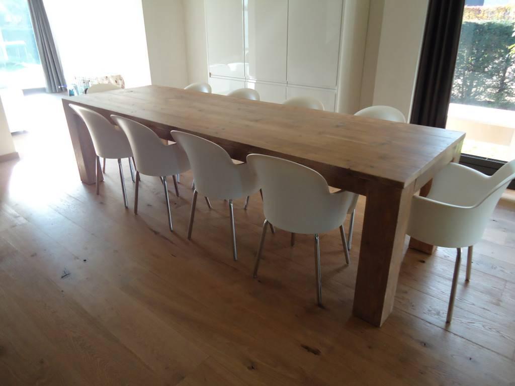 39 hamar 39 eettafel van steigerhout met blokpoten pure wood design. Black Bedroom Furniture Sets. Home Design Ideas