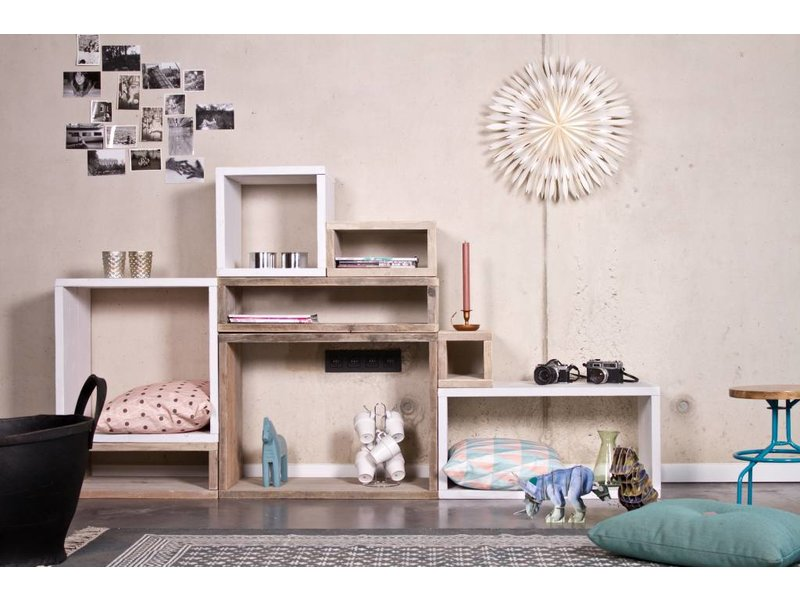 PURE wood design Cube modulekast 8 vlakken - 220 cm breed