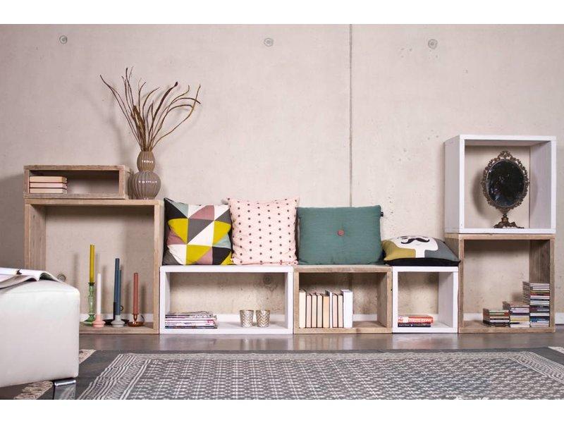 PURE wood design Cube modulekast 7 vlakken - 320 cm breed