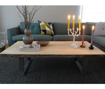 Table basse recyclé bois/brut acier