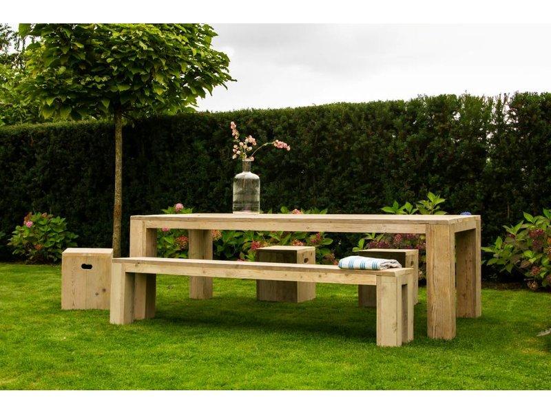 PURE wood design Banc du bois d'échafaudage (jambes bloc)
