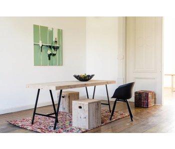 'Lystrup' industriele tafel steigerhout/schragen