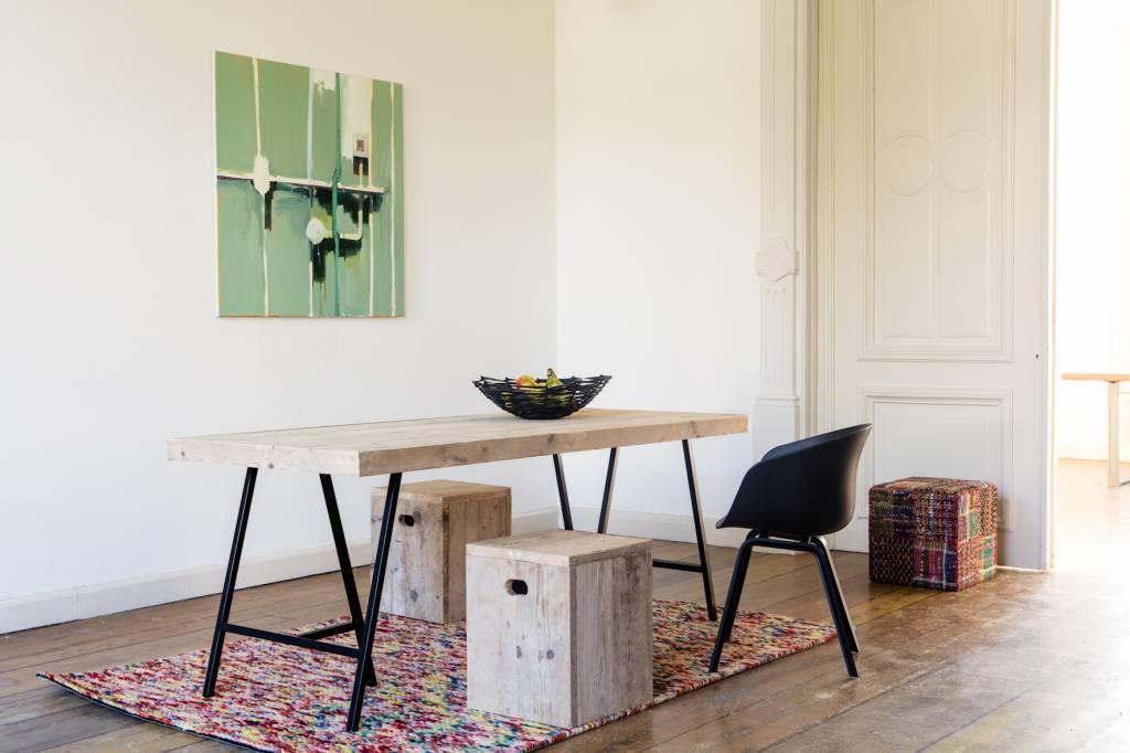 Lystrup industriele tafel van steigerhout schragen pure wood design