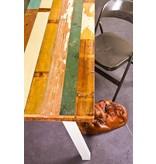 'Harstad' tafel gekleurd sloophout/stalen poot