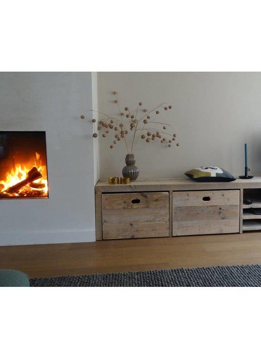 PURE wood design 'Bjordal' Opbergbank steigerhout