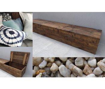 'Toftlund' Opbergbank steigerhout met klepdeksel