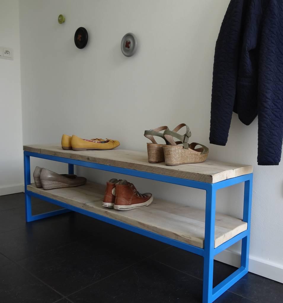 39 netland 39 halbankje steigerhout staal pure wood design - Hal ingang design huis ...