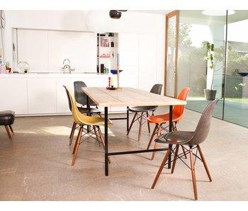 PURE wood design 'Tonsberg' industriele tafel steigerhout/ronde poot staal