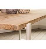 Table industrielle en bois d'échafaudage avec table flottante et armature en acier