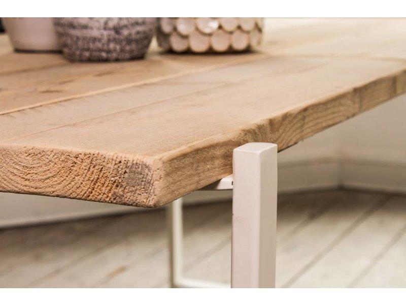 'Nordby' industriële tafel steigerhout zwevend blad/stalen poot
