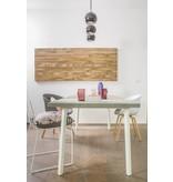PURE wood design 'Finnmark' tafel uit chipwood en stalen frame met gedraaide poten