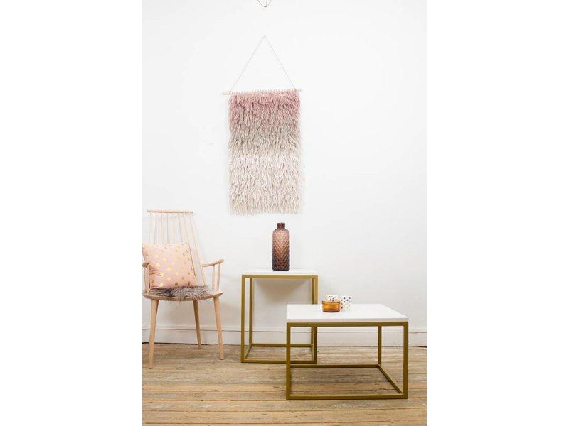 PURE wood design 'Goldmark' industriele salontafel marmer/stalen onderstel